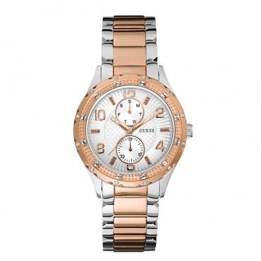 W0442L4 Γυναικείο κομψό ρολόι GUESS με ασημί καντράν, πέτρες και λευκό-ροζ επίχρυσο ατσάλινο μπρασελέ | Γυναικεία ρολόγια GUESS ΤΣΑΛΔΑΡΗΣ Χαλάνδρι #Guess #ροζ #ατσαλι #μπρασελε #ρολοι