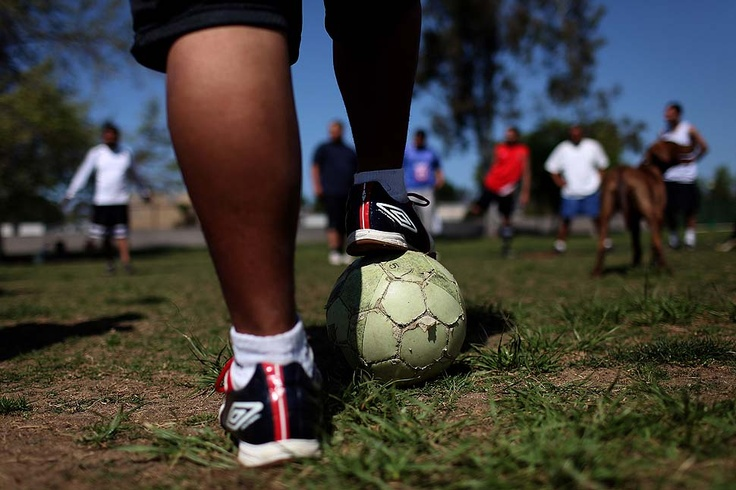 LOS ANGELES — LOS ANGELES, CA - MARCH 28, 2010: A resident of Jovenes shelter plays around with a soccer ball before a practice in Alhambra. (Katie Falkenberg / For The Times)