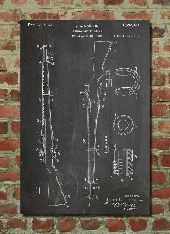 M-1 RIFLE Patent Wall Art Poster    This patent poster is printed on 90 lb. Cardstock paper. Choose between several paper styles and multiple sizes.