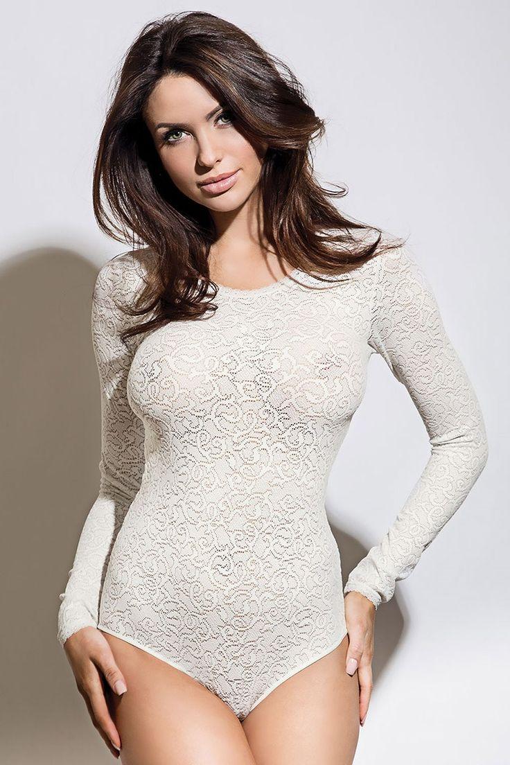 Body damskie Meggy White koronkowe - Meggyecru_bod