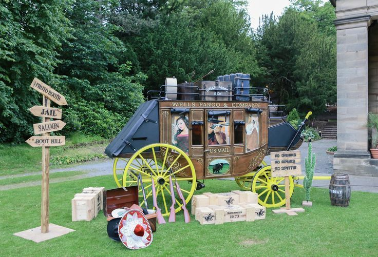 Themed photo booths for hire for outdoor themed events and western themed summer fun days.