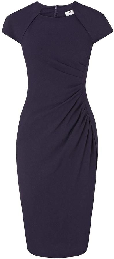Like: side ruching. Unsure about the high neckline (Marina Fitted Dress • LK Bennett • £225.00)