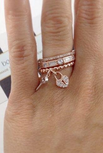 Heart + key ring