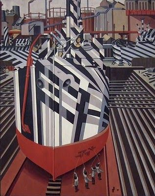 """Painting a ship in dazzle camouflage. // famous painting """"Dazzle-ships in Drydock at Liverpool"""" by Edward Wadsworth who designed dazzle camo in WWI"""