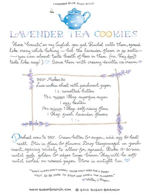 Lavender Tea Cookies . . . Susan Branch is my favorite person in the whole world.