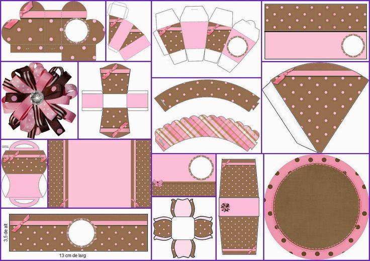 Completo Kit para Imprimir Gratis en Rosa y Marrón.