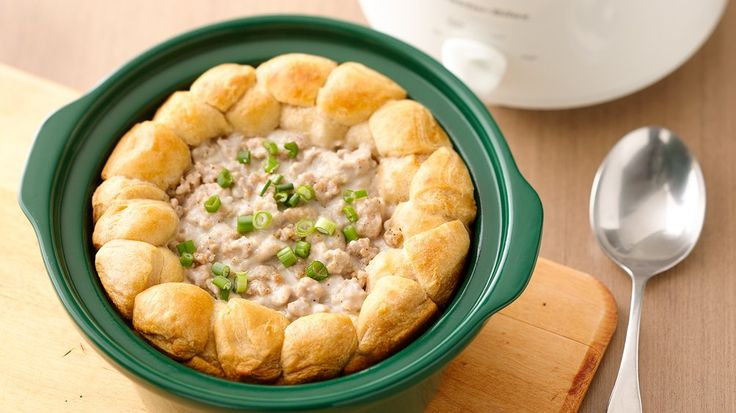 Serve this for breakfast, lunch or dinner! Biscuits and gravy are incredibly easy to make for a crowd when served in a slow cooker.