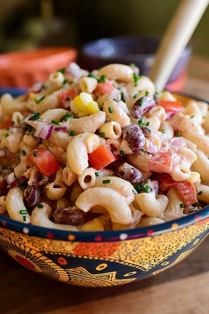 Mexican Macaroni Salad & dressing made from salsa, sour cream, mayo, & fresh grated garlic.