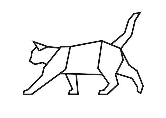 Printable Wall Art (téléchargement): Black Cat géométrique  LE MOYEN LE…