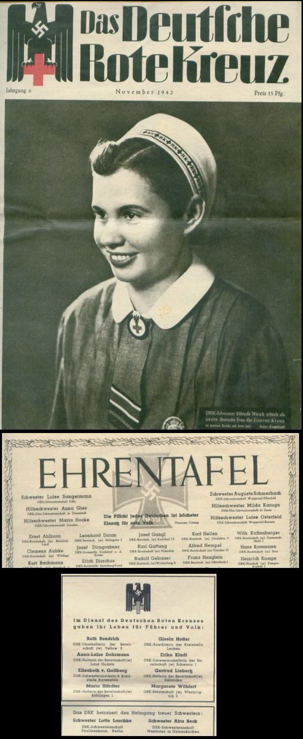 Propaganda - Illustrated Magazine November 1942, 20 pages: the German Red Cross, German ReichK sister Wound Badge and Iron Cross, with list of the fallen German ReichK people, good Gebrauserhaltung.