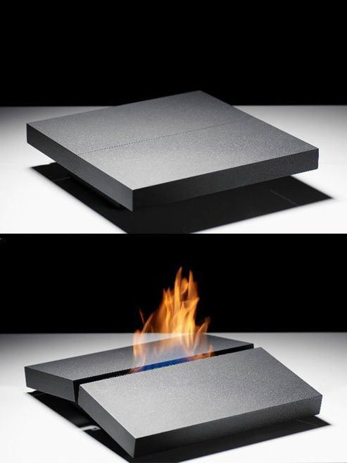 """Portable fireplace TEKTO by Porsche Studio Design . Safretti """"At first glance, the firespace's diminutive size camouflages its real purpose. Its secret is not revealed until the outside of the plate is gently pressed. As if by magic it then opens up like a crevice which the fire comes out of. The object conjures up archaic associations with the earth's crust breaking open and fire in the centre of the earth."""""""