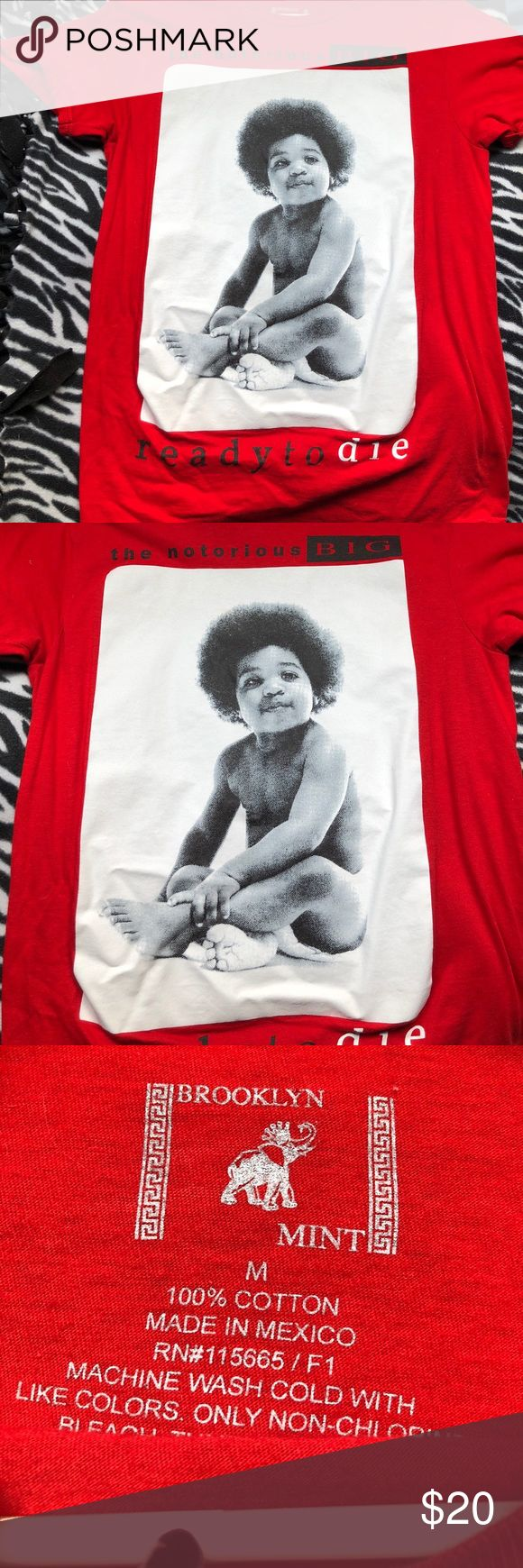 """NOTORIOUS BIG RED NOTORIOUS BIG """"READY TO DIE"""" T SHIRT Tops Tees - Short Sleeve"""