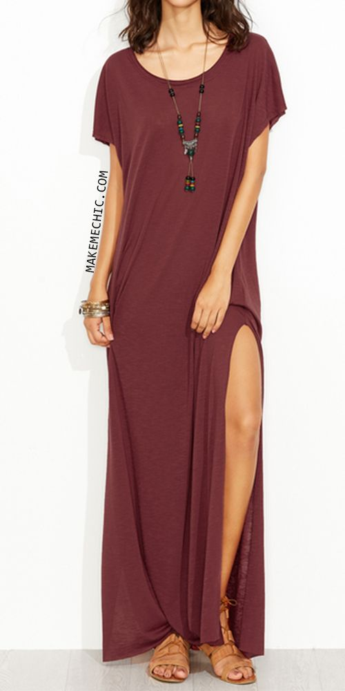 Burgundy Side Slit Loose Fit Maxi Tee Dress