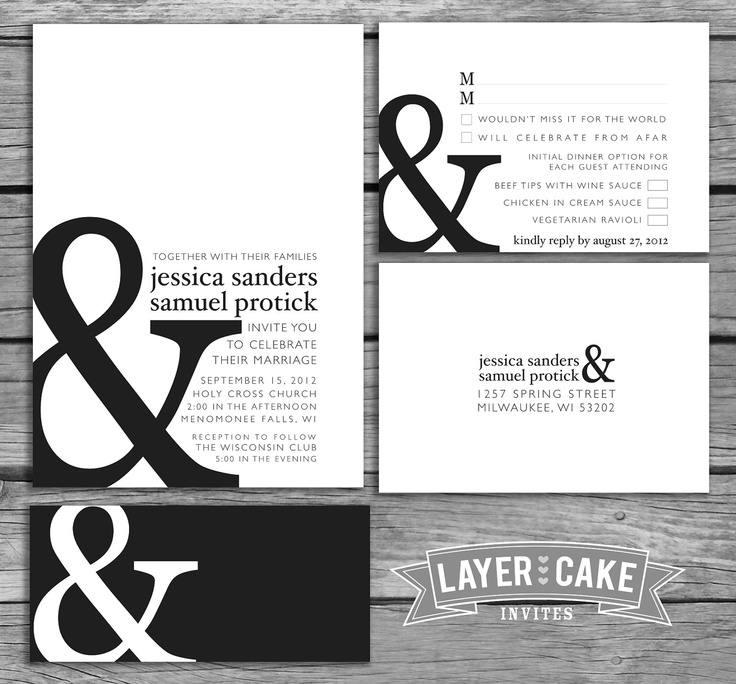 Typography Classic Ampersand Wedding Invitation Set. $4.00, via Etsy.