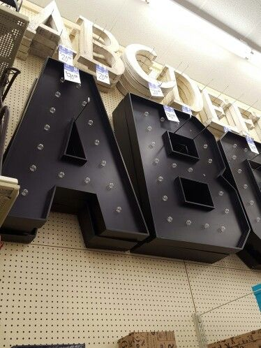 I saw these awesome marquee letters at the Hobby Lobby in Charlotte, NC today. These would be awesome in a dance studio or for a wedding. #marqueeletters #wedding #dancestudio #homedecor #warehouse #photobooth #lights
