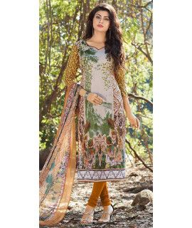Glorious Brown And Multi-Color Cotton Straight Suit.