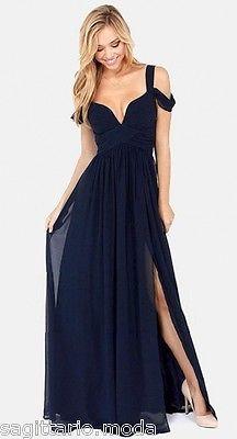 Abito lungo chiffon BLU cerimonia scollato spacco sera maxi vestito smanicato in Abbigliamento e accessori, Donna: abbigliamento, Vestiti | eBay