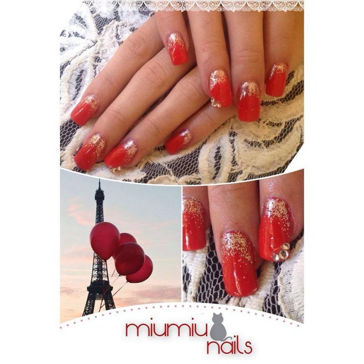 builded nail with tip, red colour, silver shiny powder, with rhinestone