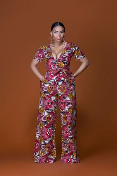 Breathing new life into your everyday wardrobe, this bold, daring, and colourful African Print Jumpsuit with pockets and for a fuller figure has been designed t