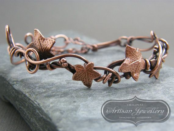 Copper woodland leaves bracelet Ivy leaf by DesignedByAnnemarie