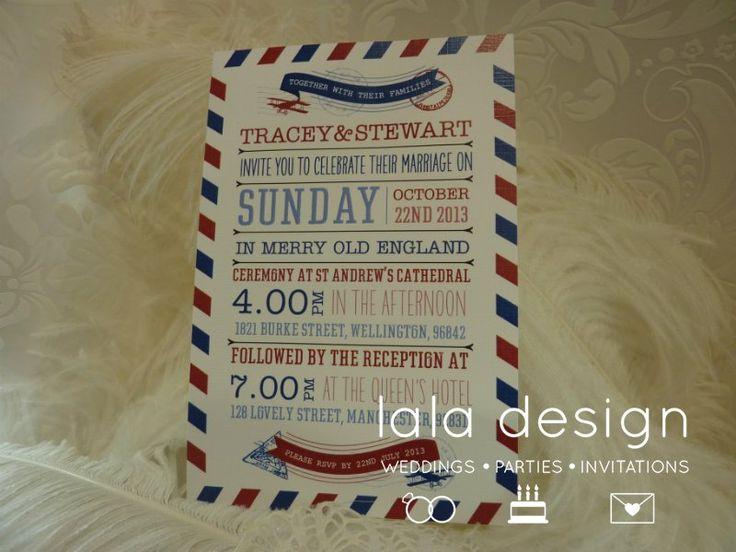 Passport style graphic wedding invitation