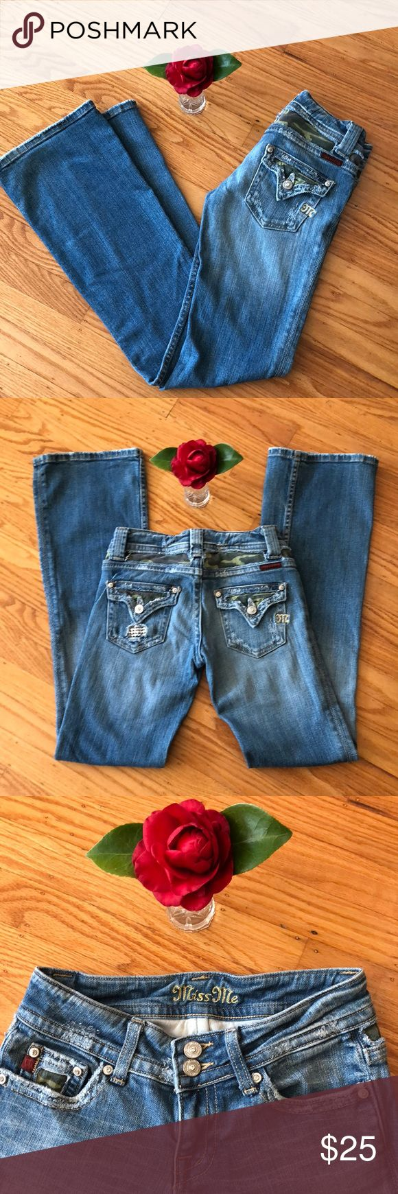 "🌺 Miss Me; Blingy Flare Faded Jeans W25/L31 NICE! Looking for a pair of well-broken in Miss Me flare-style jeans at a fraction of the retail sticker price? Shop here 😊 Well-loved jeans with many miles of wear left. Size: W25/L31. Blingy, Signature Miss Me hardware, Camoflauge Material & 2 pockets in back + 3 in front. Perfect to wear to Festivals, Concerts & for everyday wear. No holes. Thank you for 🛒 here. Please check out other Name Brand & ""fun finds"" in my closet. Bundle to save 💰…"