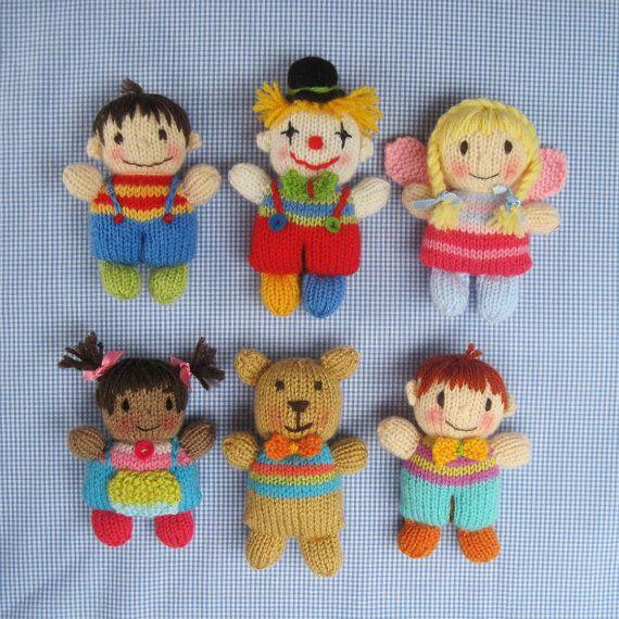Toyshelf Tots - knitted toy girls,  boys, fairy, clown, teddy bear - INSTANT DOWNLOAD - PDF email knitting pattern - ePattern