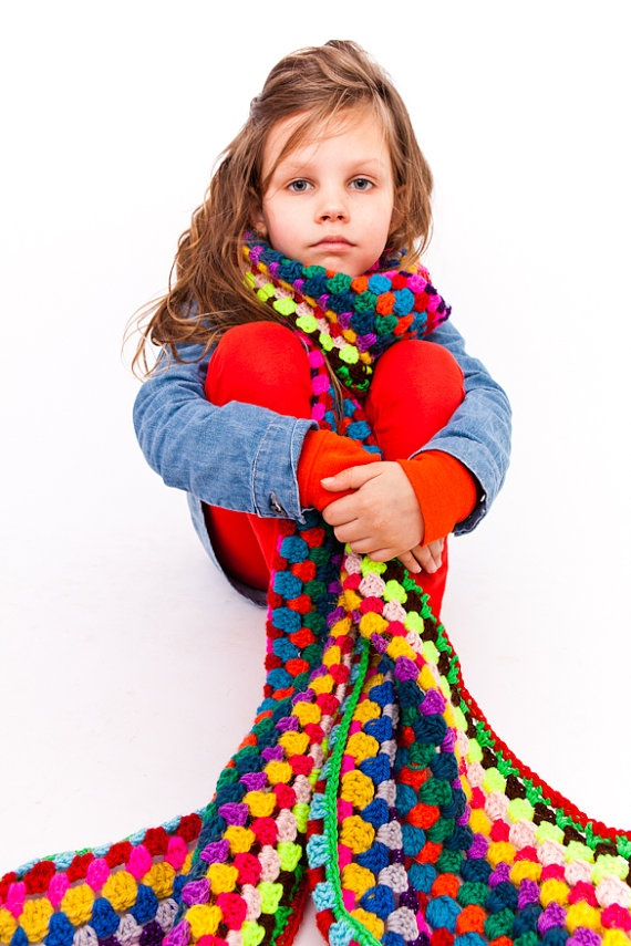multicolored long crochet scarf by petitus on Etsy, $55.00