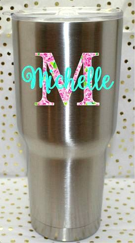 Yeti Cup Decal Lily P (inspired)- RTIC Cup Decal-Personalized Decal-Custom Decal for Tumbler-Custom Cup Decal-Cup Decal