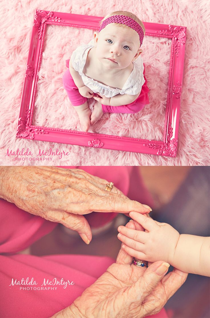 baby photographer | Matilda McIntyre Photography www.matildamcinty... Lees Summit Kansas City, MO Natural Light Photographer, cake smash, pink balloons, vintage frame, great grandma, first birthday photos, one year photography