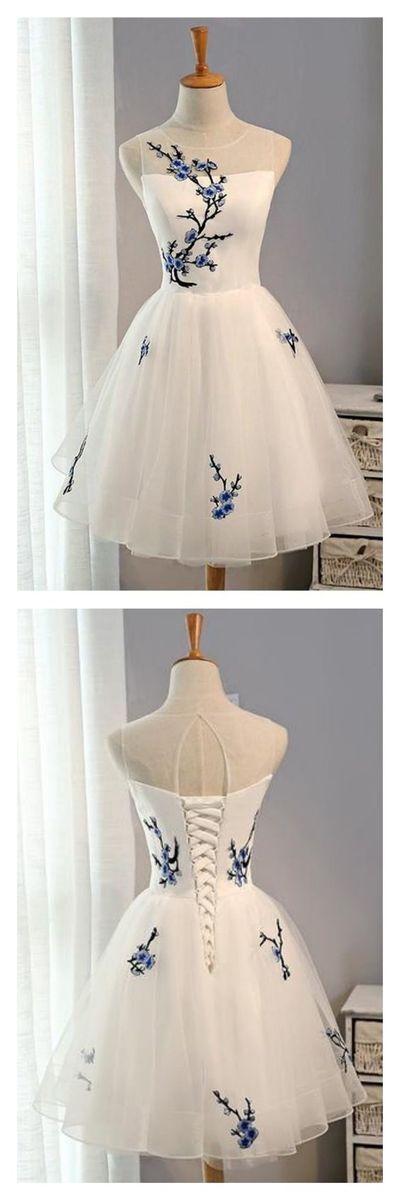Eine Linie Weiße Stickerei Heimkehr Kleider Partykleider Kurze Prom … #h