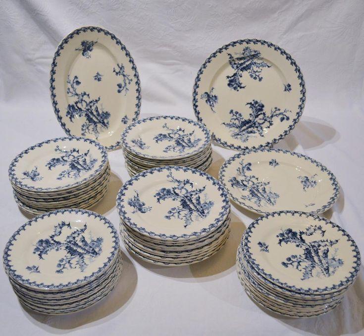 service de table porcelaine de gien mod le chardons bleu. Black Bedroom Furniture Sets. Home Design Ideas