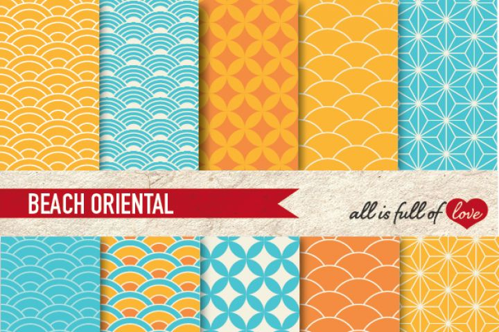 Oriental Background Patterns in Sky Blue and Yellow :: Graphics with quatrefoil, scales and stars. You get 10 High Quality Sheets :: JPG files in Letter and A4 size with 300 dpi jpg, for perfect printing or digital use. These have so many uses, they are great for scrapbooking, crafts, party decor, DIY projects, blogs, stationery & more. All patterns are original and copyrighted by All is Full of Love