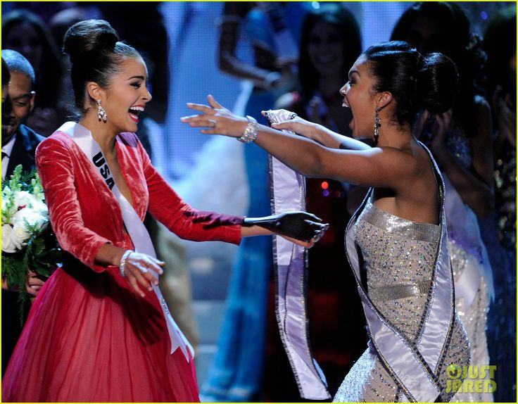 This moment right here; this exact moment right here. Miss Universe 2012 Olivia Culpo with Miss Teen USA 2012 Logan West.