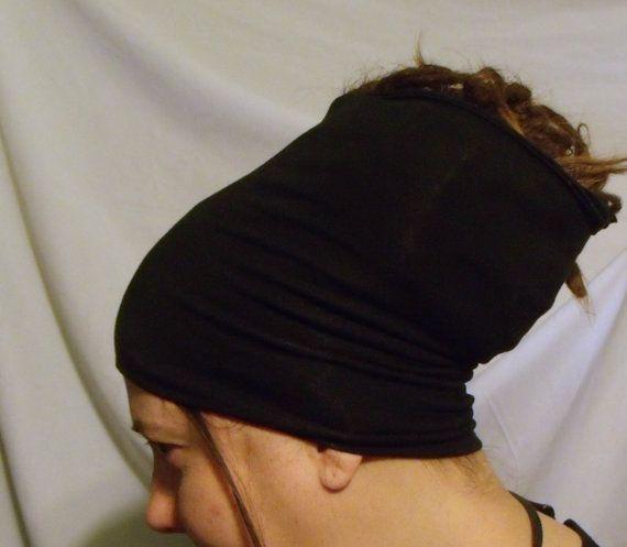 Buff - HeadBand - DreadBand - Hair Tube - Cowl - Standard Black Organic Head Hugger XL  by KreativeMindz, $18.00