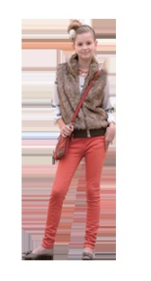 A look comprising of a t-shirt, fox jacket and and crimson pants for 10-16 year old girls available at Babyshop.
