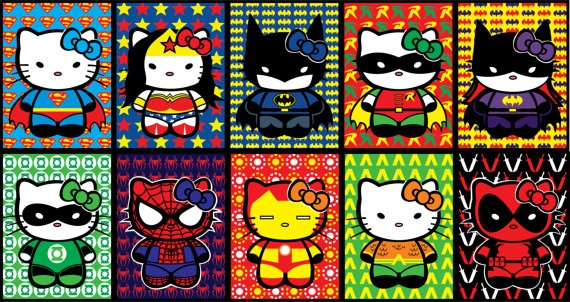 Hello Kitty Superheros Sticker 10pk. $8.00, via Etsy.