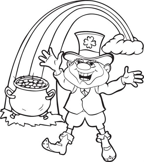 free printable coloring page of a leprechaun with a pot of gold at the end