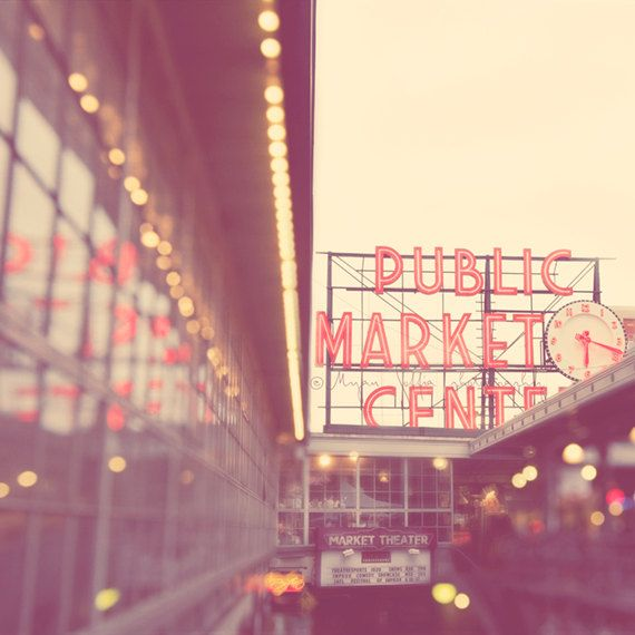 Seattle photography, Pike Place Market, Elliott Bay, photo of downtown Seattle Washington, travel landmark, bokeh, red retro sign. by MyanSoffia.etsy.com