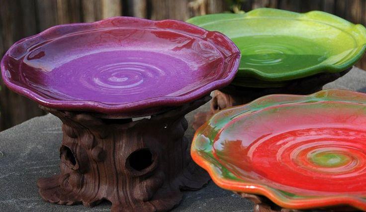 Ceramic Bird Bath by JJ Potts