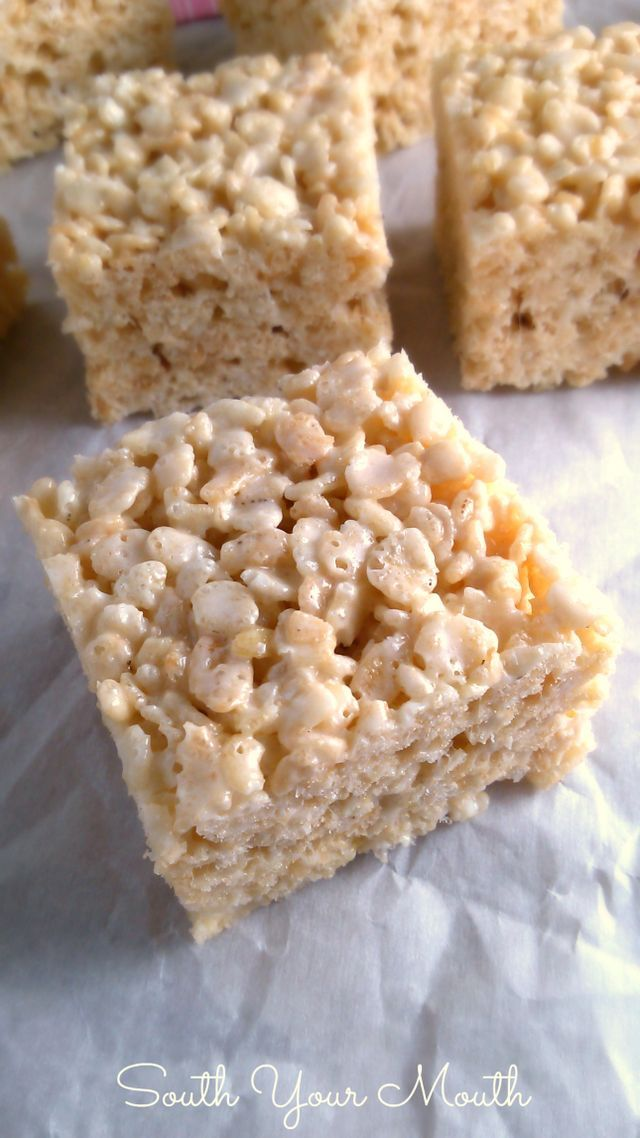 These rice krispie treats are ridiculous. And that's why I love them more than any other rice krispie treats I've ever had. These aren't your plain-jane, back-of-the-box-recipe crispy rice treats. The