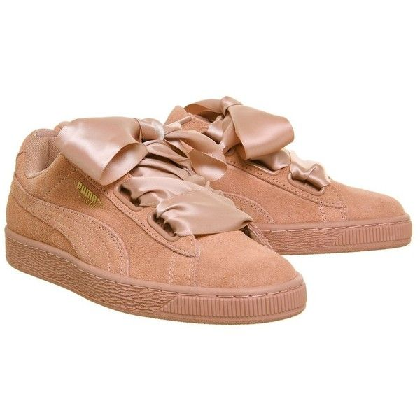 Suede Heart Trainers by Puma Supplied by Office (575 MAD) ❤ liked on Polyvore featuring shoes, sneakers, brown, heart sneakers, suede sneakers, suede trainers, brown suede shoes and puma sneakers