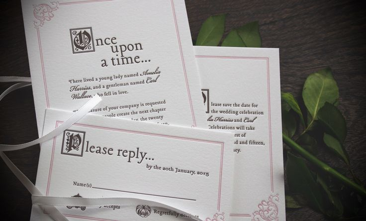 Fairytale wedding letterpress invitation pink and grey. Once upon a time invitation birth announcement, christening invitation, birthday invitation letterpress