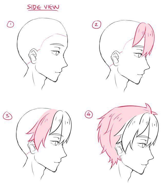 Cheveux du côté   – Manga Zeichnen lernen – #cheveux #côté #lernen #Manga #Z…