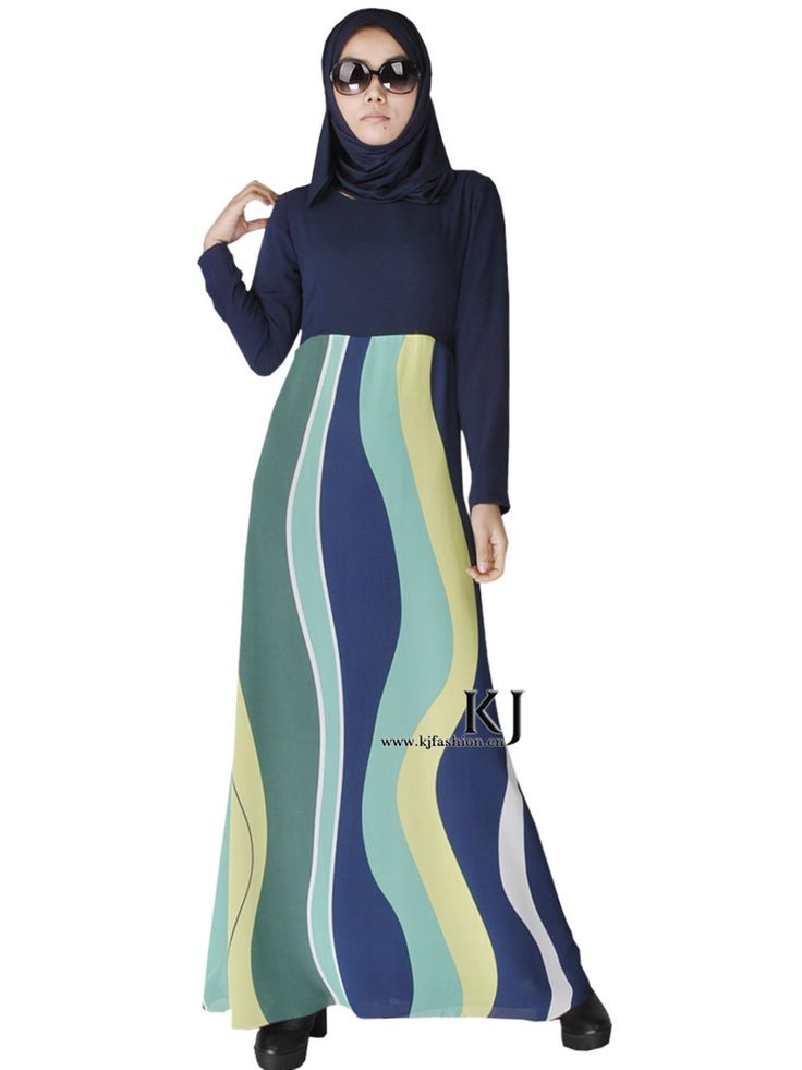 2015 moslim jurk abaya islamitische kleding voor vrouwen hijab dubai jibabs kaftan fashion zijde strepen abaya lange jurken KJ150308 in Muslim clothing Islamic coat spring autumn fashion maxi trench coat for women striped plus size three quarter female out van   op AliExpress.com | Alibaba Groep