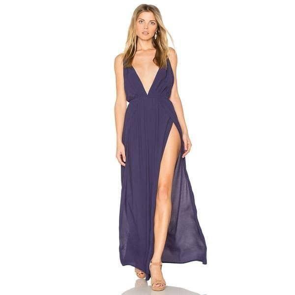 HYH Haoyihui Women V-Neck Sleeveless Solid Purple Sandbeach Dress Backless  Split Elegant Sexy Vestidos Ruffle Tie Lady Dress e550d4e1e