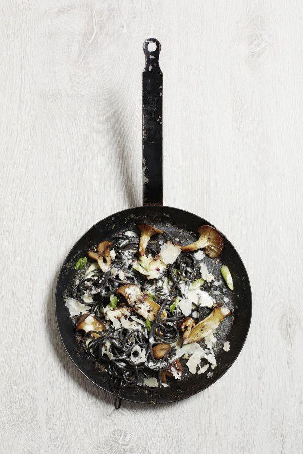 Black Spaghetti with Mushrooms and Parmesan