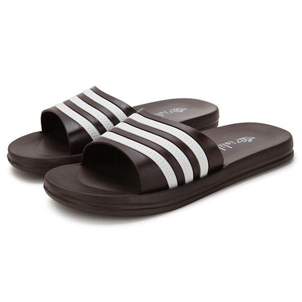 Men Rubber EVA Stripe Anti Skip Slip On Home Indoor Bathroom Slippers