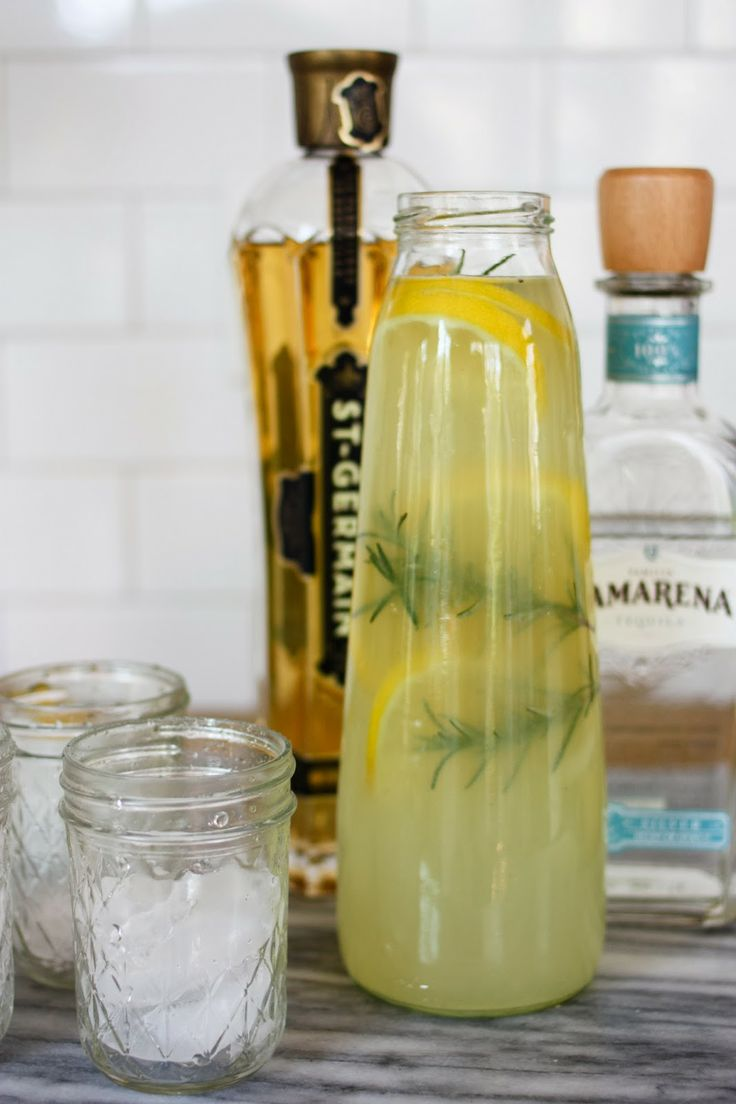 St. Germain Rosemary Lemonade: 1/2 cup tequila, 1/2 cup rosemary simple syrup, 1/4 cup St. Germain, 1-1/2 cups lemonade. Garnish with fresh rosemary sprigs