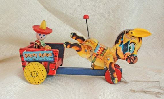 Rare Vintage 1955 Fisher Price Wood Bucky Burro by RetrofitStyle, $195.00: Vintage Wood, Wood Bucky, Price Wood, Animal